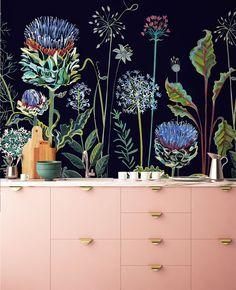 Wallpaper designed by Lucy Tiffney, Palm, Lagoon, Mr Bear, Allium tropical Mural Painting, Mural Art, Wall Murals, Wall Art, Garden Mural, Garden Path, Botanical Wallpaper, Fence Art, Night Garden