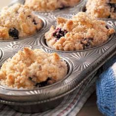 Blueberry Streusel Muffins  1/4 cup butter, softened  1/3 cup sugar  1 egg  1 teaspoon vanilla extract  2-1/3 cups all-purpose flour  4 teaspoons baking powder  1/2 teaspoon salt  1 cup milk  1-1/2 cups fresh or frozen blueberries  STREUSEL:  1/2 cup sugar  1/3 cup all-purpose flour  1/2 teaspoon ground cinnamon  1/4 cup cold butter  BAKING:   Bake at 375° for 25-30 minutes or until browned.