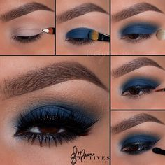 When you're looking to create a statement, nothing is more eye-catching than dramatic blue eye shadow. To create a sexy, smoldering effect, look no further than deep cobalt blue, especially for brown eyes.