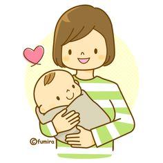 赤ちゃんを抱っこするママのイラスト(ソフト)