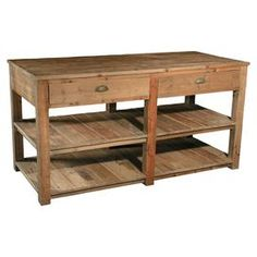 "Elm wood kitchen island with two planked bottom display shelves and half-moon drawer pulls.  Product: Kitchen islandConstruction Material: Solid elmColor: NaturalFeatures: Two shelvesDimensions: 33.5"" H x 67"" W x 29.5"" D"