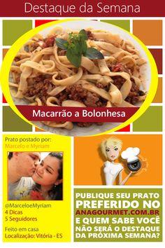 Poste suas dicas no aplicativo Ana Gourmet e na próxima semana pode ser o seu prato favorito. www.AnaGourmet.com.br