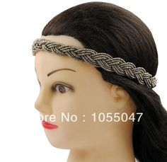 Free shipping  beads braid handmade elastic hairband headwrap hair accessories, 6pcs/lot ($2/pc)