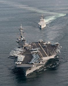 USS Carl Vinson followed by the USS Bunker Hill - great overhead view