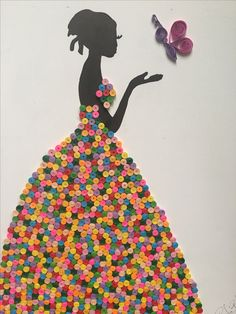 This Site dose not work but what a great Black History Month Craft for teens or older school age. Diy Quilling Crafts, Quilling Cards, Quilling Designs, Paper Quilling, Button Art, Button Crafts, Paper Crafts For Kids, Diy And Crafts, Fashion Illustration Dresses