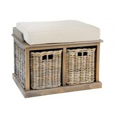 Grey Wash Twin Basket with Bench