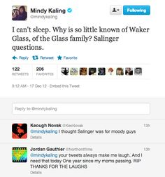 Mindy Kaling is being kept up at night by the plots of Salinger novels