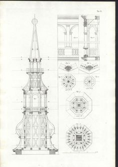 Cross Section of A Steeple C 1835 Large Antique Folio Italian Architecture Print Church  $35.95