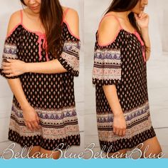 💠💠The CHLOE open shoulder print dress Super fun style! I'm in love with open shoulder clothing. ‼️NO TRADE‼️ striped Bellanblue Dresses