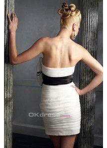 New Arrival White Sheath/Column Strapless Short/Mini Bow Knot Cocktail Dresses Under 100