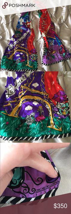 Oscar de la Renta 100% silk scarf Oscar de la Renta 100% silk scarf. Can wear it or put it on your purse. Beautiful colors with Parisian theme Accessories Scarves & Wraps