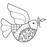 Woodware Clear Stamps - Christmas - Patchwork Dove with Holly Pattern Detail Embroidery Transfers, Embroidery Applique, Cross Stitch Embroidery, Embroidery Designs, Applique Templates, Applique Patterns, Templates Free, Illustration Noel, Christmas Embroidery