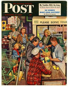 "1949 ""Grocery Line"" by Stevan Dohanos - Neighborhood Shopping Market - Saturday Evening Post Cover - Dash Dog Food - Afghan Hound Dog Old Magazines, Vintage Magazines, Vintage Ads, Vintage Posters, Vintage Ephemera, Cover Art, Journal Vintage, Norman Rockwell Art, Munier"