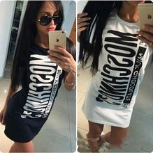 Summer Style 2016 Women Casual Dress Fashion Tshirt dresses Sports letters Desigual vestidos dress vestido de festa With Zipper(China (Mainland))