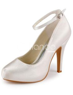 Ivory Round Toe Ankle Strap Satin Bridal Shoes. See More Bridal Shoes at http://www.ourgreatshop.com/Bridal-Shoes-C919.aspx