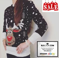 New Women's Knitted Snowy Rudolph Reindeer Christmas Xmas Jumper - **Sale** by OfficialBlulook on Etsy