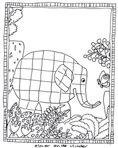 Elmer coloring page Pattern Coloring Pages, Colouring Pages, Color Activities, Activities For Kids, Drawing For Kids, Art For Kids, Elmer The Elephants, Ecole Art, Pre Kindergarten