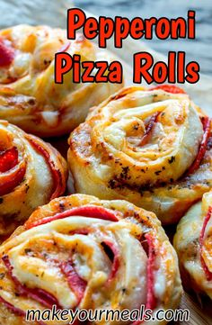 Pepperoni Pizza Rolls Recipe - a great appetizer for game day or a yummy snack any time of the year! A pizza inspired snack or appetizer that is easy to eat and is a fantastic addition to any party! 2 tubes of refrigerated pizza crust Yummy Snacks, Snack Recipes, Cooking Recipes, Yummy Food, Pizza Recipes, Pizza Flavors, Easy Recipes, Easy Party Snacks, Good Party Food