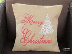 Burlap Pillow Merry Christmas Pillow Holiday by AmericanTradesman