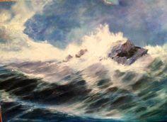 Rompiente con viento. Pintura al óleo.