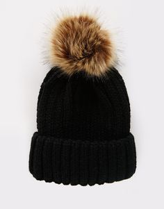 1ab630a665e 7X Cable Bobble Hat In Faux Fur at asos.com