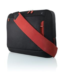 """Attractive in black and red, the Belkin 17"""" Laptop Messenger Bag has super organisation features and a removable pouch for your power adapter and cables.   http://www.travelpresents.co.uk/#!travel-gifts-for-commuters/ckvw"""