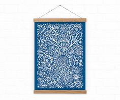 Art print / White Flowers on blue / A3 / A4 by DURIDO on Etsy