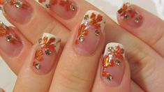 Autumn Bridal Design with Bronze/Burnt Orange and Gold Leaves & Rhinestones Nail Art Tutorial