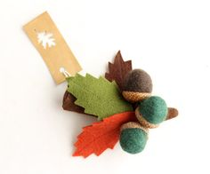 Brooch branch with leaves and acorns Felt Oak branch by Intres, $18.00