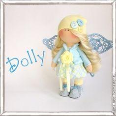 Купить Маленькая интерьерная кукла Долли - интерьерная кукла, коллекционная кукла, текстильная кукла, Снежка