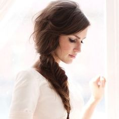 One of my favorite hairstyles right now for brides- the undone fishtail braid!