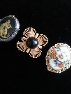 Set of 3 Brooches ** Mid Century Collectible Jewelry ** Black Stone Maltese Cross ** Rhinestone Flower Pin ** by MartiniMermaid on Etsy