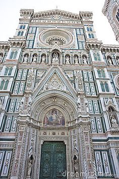 Cathedral in Florence, Italy. Florence is one of the most popular travel cities in Italy and holds many attractions for the tourist. Florence, a Renaissance city in the heart of Tuscany, has some of Italy's best museums, beautiful cathedrals and churches, and interesting streets and squares with elegant buildings and shops.