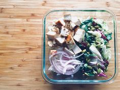 Buddha bowl   Chicken Rice Mixed field greens, kale, cabbage, pumpkin seeds, cranberries Purple onion Balsamic vinaigrette Olive oil