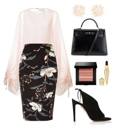"""Untitled #100"" by tazkiasaras on Polyvore featuring Chloé, River Island, Charlotte Russe, Aquazzura, Hermès, Bobbi Brown Cosmetics and Christian Louboutin"
