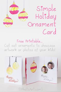 Simple Holiday Ornament Card (with Photo Window)