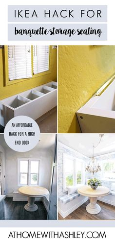 IKEA Hack Banquette Seating - at home with Ashley - - IKEA hack banquette seating. Do you need a storage bench in your kitchen or dining room? I have a DIY tutorial for how to make a corner bench. Built In Dining Room Seating, Corner Dining Table, Banquette Seating In Kitchen, Kitchen Benches, Dining Room Design, Ikea Dining Table Hack, Ikea Hack Bench, Built In Bench, Ikea Round Dining Table