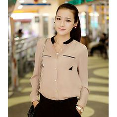 Contraste estilo coreano de la Mujer GNB color Small Stand cuello camisa de manga larga de gasa (Almond) 1303504 2016 – €91.40