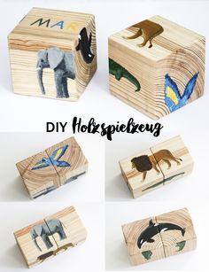 DIY Holzspielzeug Holzwürfel Puzzle für Kinder | Kids | Holz Handwerk | Tiere | bunt | bemalen | Geschenke | Spielzeug | Kinderspielzeug basteln | Ideen | kreativ | selber machen | Anleitung | Tutorial | Lernen | wood | kids crafts | play | toys