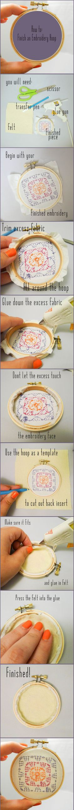 How to Finish an Embroidery Hoop by Teresa Millies from Daisies for Violet Needle-work tricks also about Needlework stitches CLICK VISIT link above for more details - Needlework tips & tricks Embroidery Hoop Art, Cross Stitch Embroidery, Embroidery Patterns, Cross Stitch Patterns, Finishing Embroidery Hoop, Simple Embroidery, Broderie Simple, Diy Love, Diy Inspiration