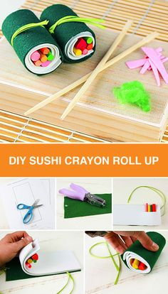 Whether helping your little one stay organized in school or coming up with fun party favors, this DIY crayon sushi roll up is sure to be a true crowd pleaser! Simply cut felt and foam, add crayons and roll!