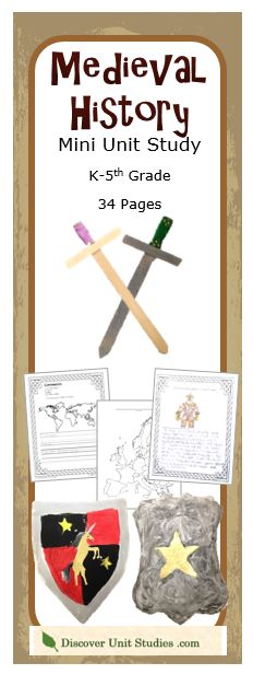Are you looking for a history lesson plan? Your children will enjoy learning about knights, castles, and chivalry through this hands-on mini unit study. There are two worksheet sets for language arts: Kindergarten to 2nd grade and 3rd to 5th grade. Students will read a book, do some writing projects, geography, and art. Making their very own sword and shield will be the highlight of this lesson! discoverunitstudies.com