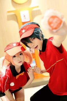 Anime Cosplay Anime: The Devil is a Part-Timer Characters: Chiho and Maou Kawaii Cosplay, Cosplay Anime, Epic Cosplay, Cute Cosplay, Cosplay Makeup, Amazing Cosplay, Cosplay Outfits, Halloween Cosplay, Cosplay Girls