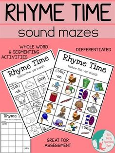 These Rhyme Time Sound Mazes are designed to give lots of practice with CVC (3-letter) words, word families and rhyming words. Three main differentiated activities1.Find the way through each maze by following the rhyming words2.Segment words by recording down the beginning, middle and ending sounds as well as the word families from the grid pictures3.Write rhyming (mostly CVC) words by recording the words from the grid picturesThe word family posters are for reference to help children know…