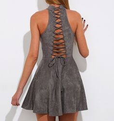 Renee Grey Faux Suede Lace up Short Dress