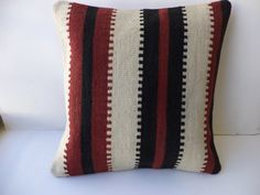 "Kilim Pillow,20""x20"" inch Home Sofa Decor Sriped Pattern Black White And Red Turkish Kilim Rug Pillow Cover,Oversize Kilim Cushion Cover."