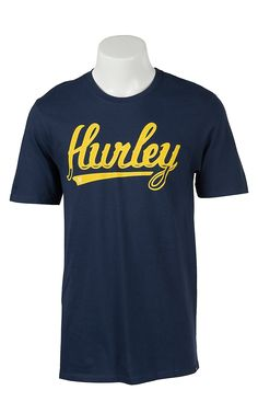 Hurley Men's Slugger Midnight Navy with Yellow Logo Short Sleeve Tee | Cavender's