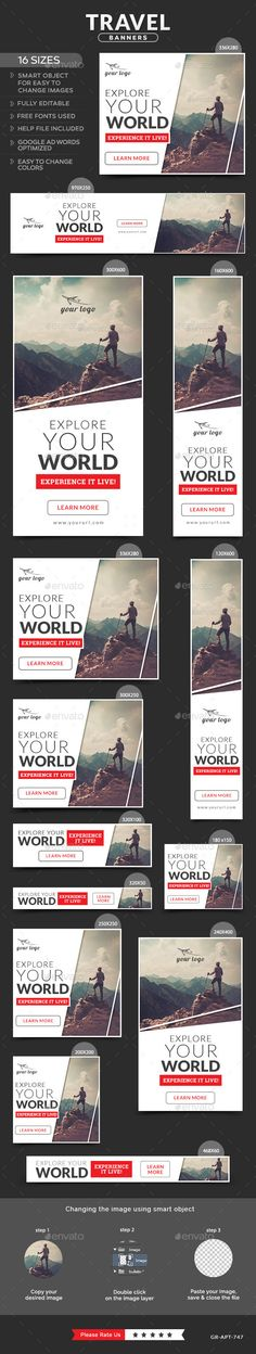 Travel Banners Design template - Banners & Ads Web Template PSD. Download here: https://graphicriver.net/item/travel-banners/12072510?s_rank=6&ref=yinkira