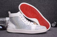 Christian Louboutin Louis Strass Mens Flat High Top Leather Shoes Sneakers White