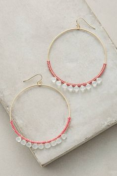 Anthropologie Mint Stone Hoops